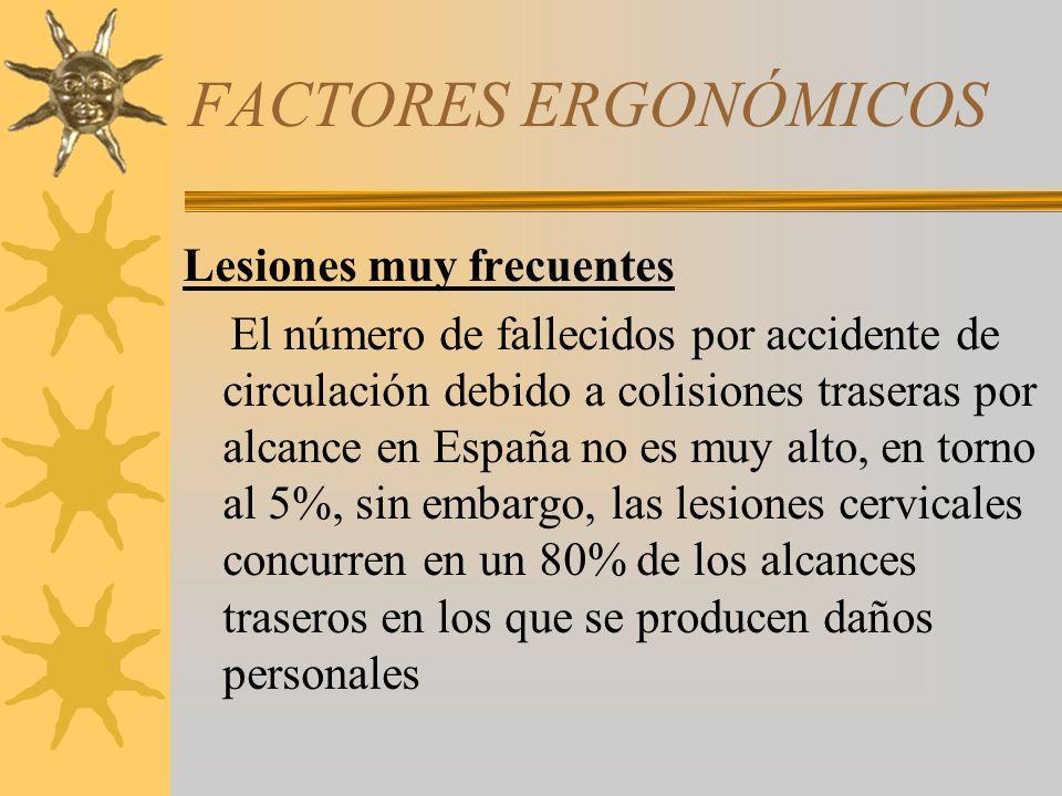 FACTORES ERGONÓMICOS Lesiones muy frecuentes El número de fallecidos por accidente de circulación debido a colisiones traseras por alcance en España n