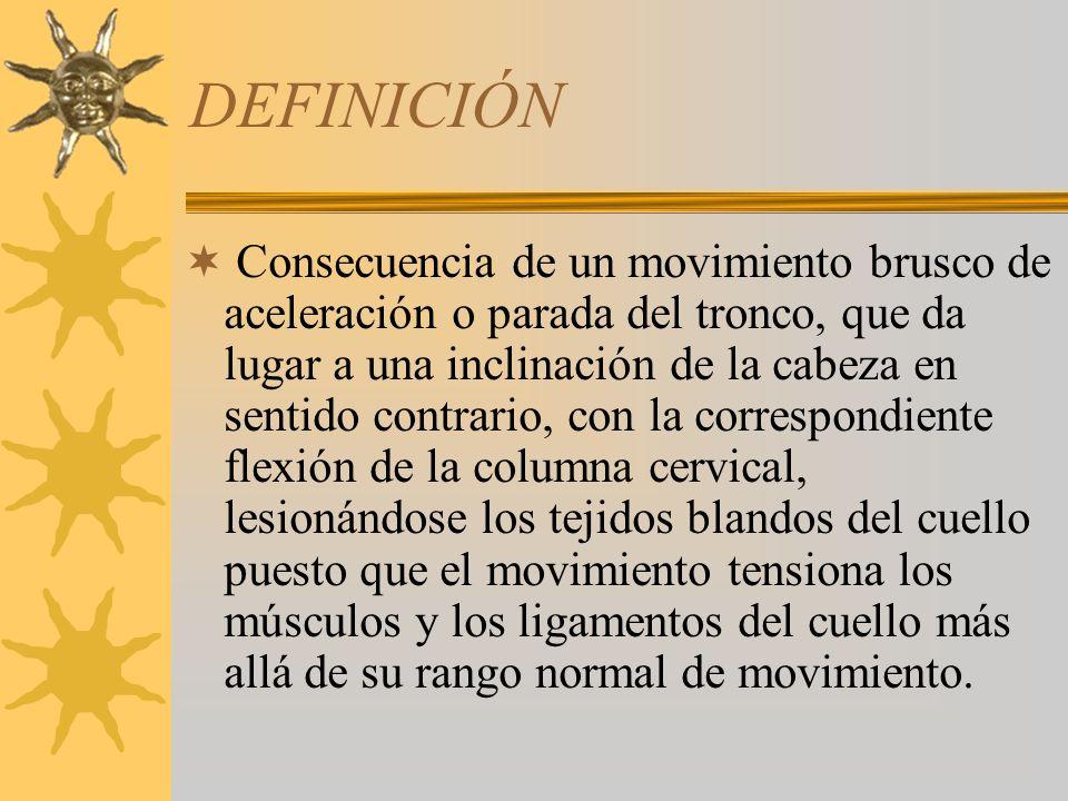 DEFINICIÓN Consecuencia de un movimiento brusco de aceleración o parada del tronco, que da lugar a una inclinación de la cabeza en sentido contrario,