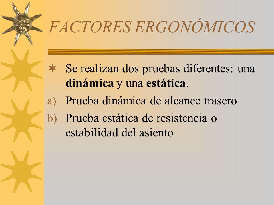 FACTORES ERGONÓMICOS Se realizan dos pruebas diferentes: una dinámica y una estática. a) Prueba dinámica de alcance trasero b) Prueba estática de resi