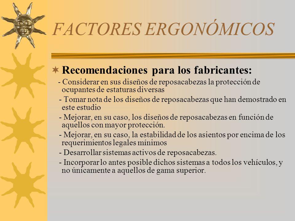 FACTORES ERGONÓMICOS Recomendaciones para los fabricantes: - Considerar en sus diseños de reposacabezas la protección de ocupantes de estaturas divers