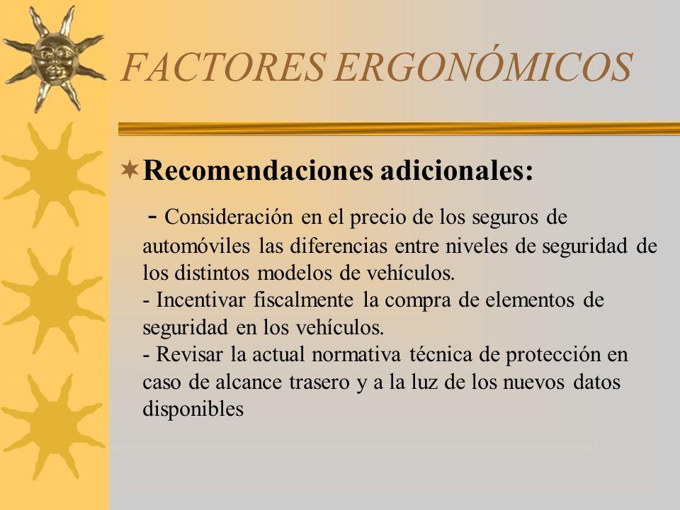 FACTORES ERGONÓMICOS Recomendaciones adicionales: - Consideración en el precio de los seguros de automóviles las diferencias entre niveles de segurida