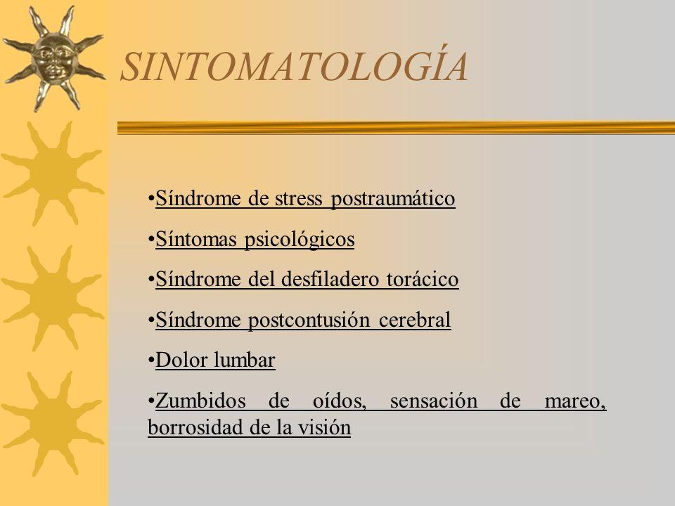SINTOMATOLOGÍA Síndrome de stress postraumático Síntomas psicológicos Síndrome del desfiladero torácico Síndrome postcontusión cerebral Dolor lumbar Z