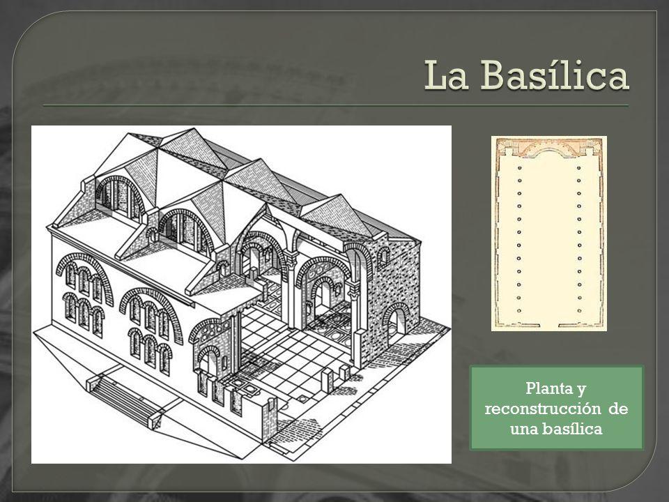 Planta y reconstrucción de una basílica