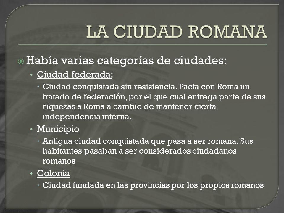 Había varias categorías de ciudades: Ciudad federada: Ciudad conquistada sin resistencia. Pacta con Roma un tratado de federación, por el que cual ent