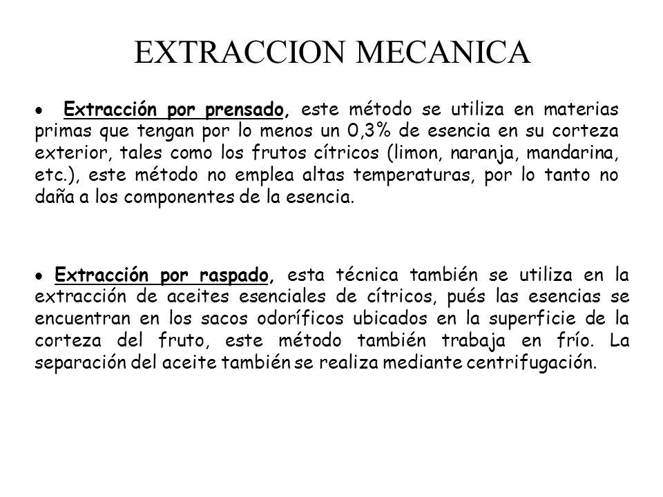 EXTRACCION MECANICA Extracción por prensado, este método se utiliza en materias primas que tengan por lo menos un 0,3% de esencia en su corteza exterior, tales como los frutos cítricos (limon, naranja, mandarina, etc.), este método no emplea altas temperaturas, por lo tanto no daña a los componentes de la esencia.