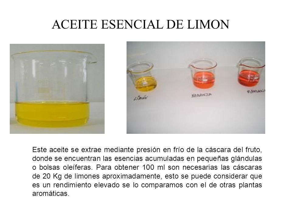 ACEITE ESENCIAL DE LIMON Este aceite se extrae mediante presión en frío de la cáscara del fruto, donde se encuentran las esencias acumuladas en pequeñas glándulas o bolsas oleíferas.