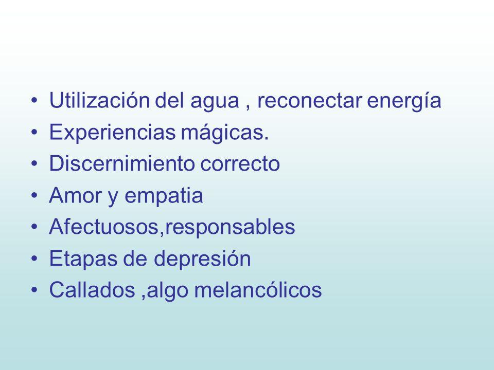 Utilización del agua, reconectar energía Experiencias mágicas. Discernimiento correcto Amor y empatia Afectuosos,responsables Etapas de depresión Call