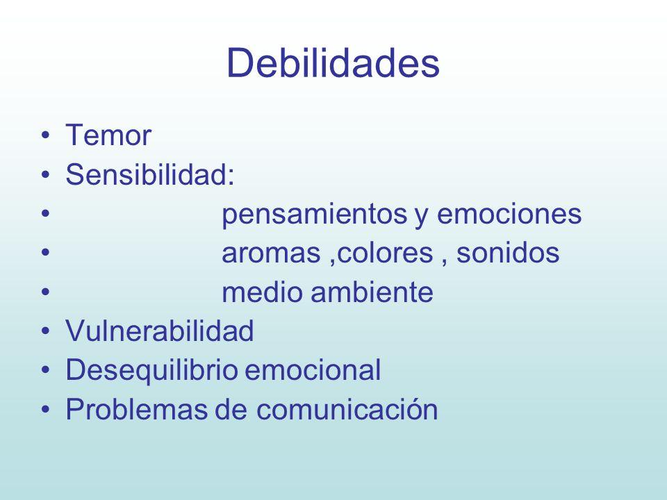 Debilidades Temor Sensibilidad: pensamientos y emociones aromas,colores, sonidos medio ambiente Vulnerabilidad Desequilibrio emocional Problemas de co
