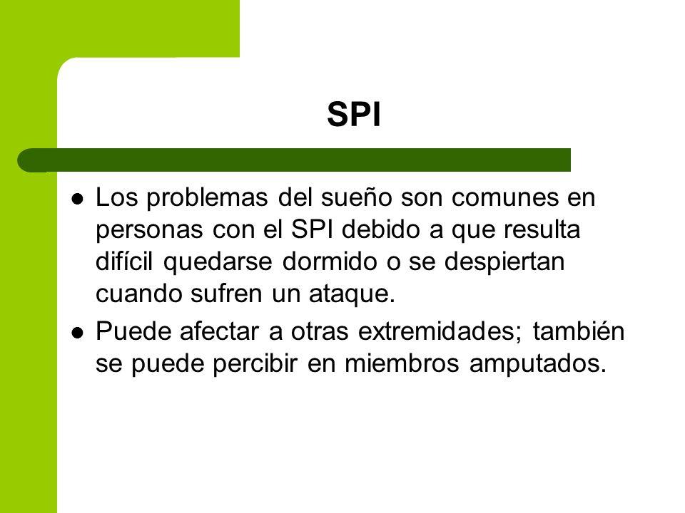 SPI Los problemas del sueño son comunes en personas con el SPI debido a que resulta difícil quedarse dormido o se despiertan cuando sufren un ataque.