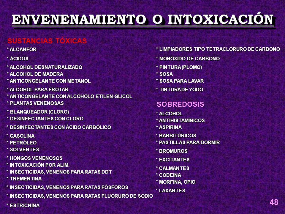 ENVENENAMIENTO O INTOXICACIÓN * ALCANFOR * ÁCIDOS * ALCOHOL DESNATURALIZADO * ALCOHOL DE MADERA * ANTICONGELANTE CON METANOL * ALCOHOL PARA FROTAR * A
