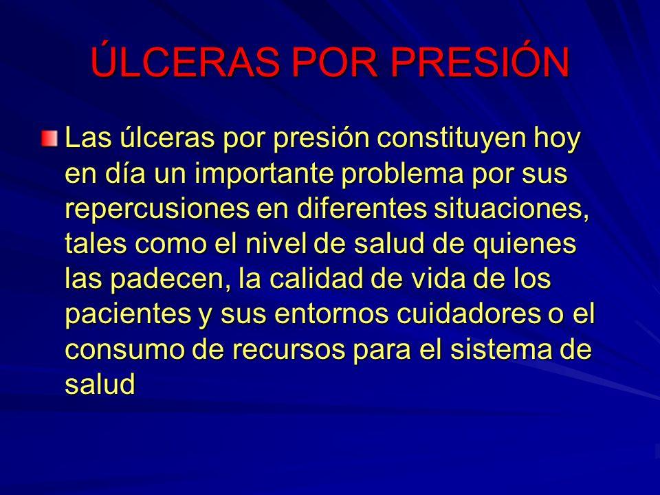 ÚLCERAS POR PRESIÓN Las úlceras por presión constituyen hoy en día un importante problema por sus repercusiones en diferentes situaciones, tales como