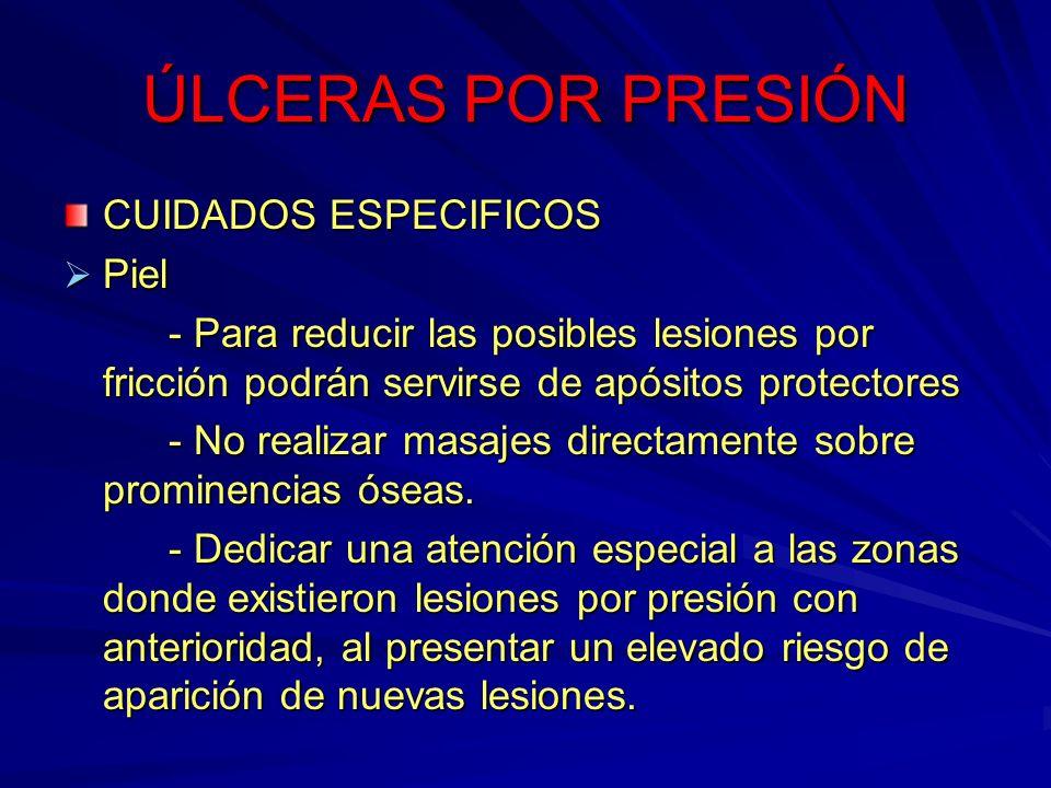 ÚLCERAS POR PRESIÓN CUIDADOS ESPECIFICOS Piel Piel - Para reducir las posibles lesiones por fricción podrán servirse de apósitos protectores - No real