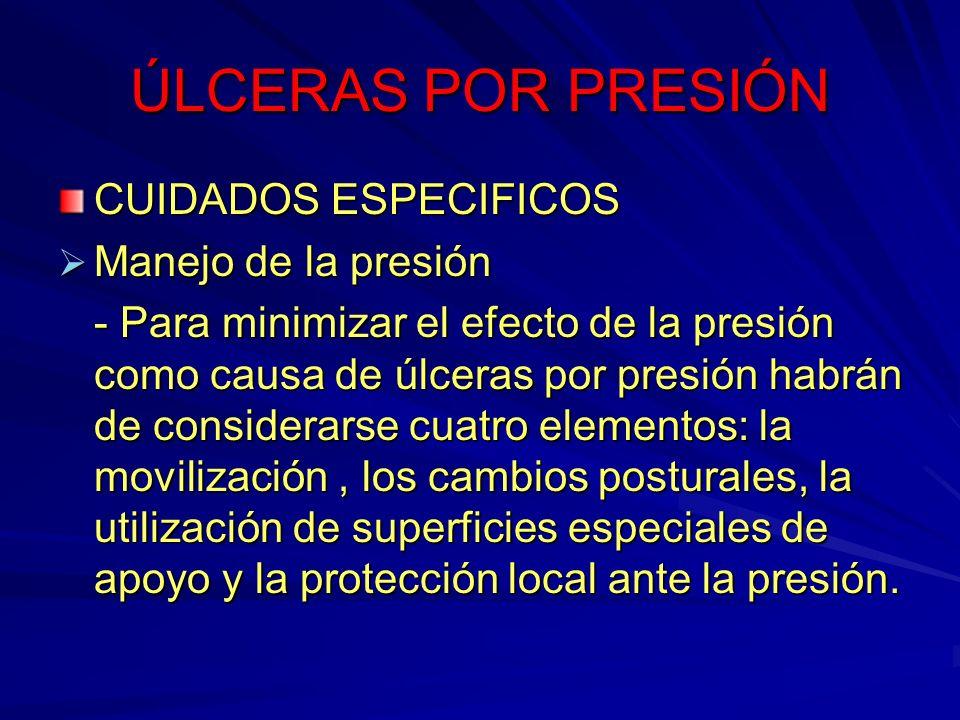 ÚLCERAS POR PRESIÓN CUIDADOS ESPECIFICOS Manejo de la presión Manejo de la presión - Para minimizar el efecto de la presión como causa de úlceras por