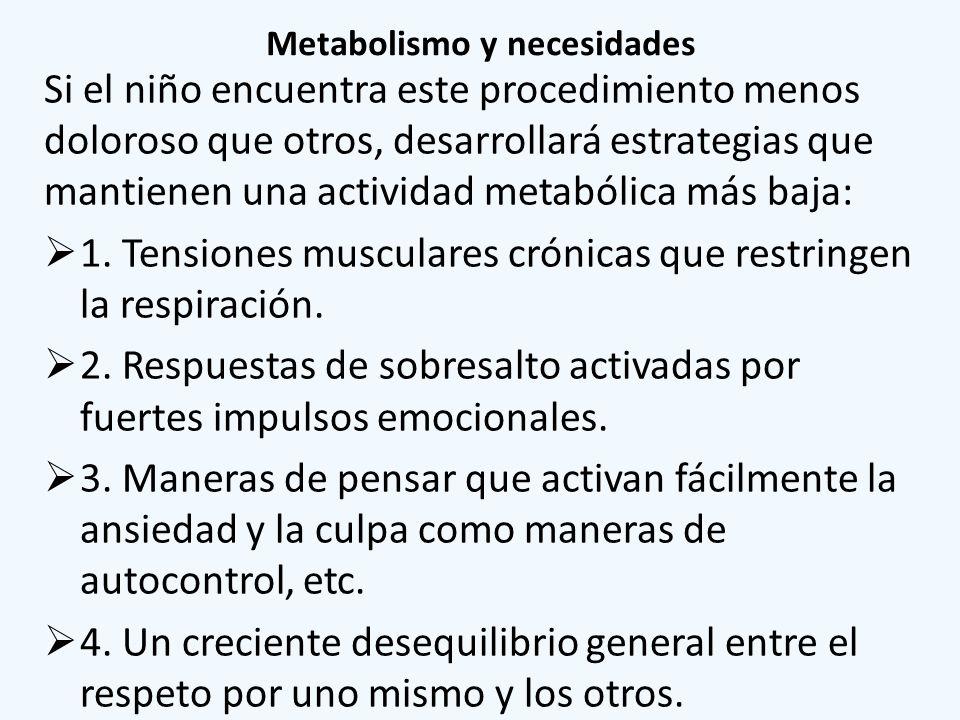 Metabolismo y necesidades Si el niño encuentra este procedimiento menos doloroso que otros, desarrollará estrategias que mantienen una actividad metab