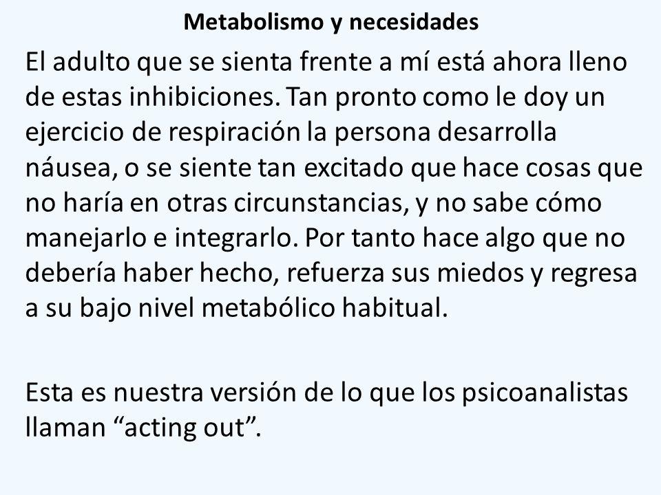 Metabolismo y necesidades El adulto que se sienta frente a mí está ahora lleno de estas inhibiciones. Tan pronto como le doy un ejercicio de respiraci