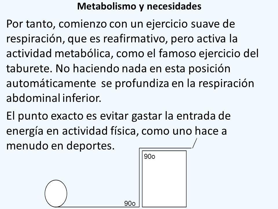 Metabolismo y necesidades Por tanto, comienzo con un ejercicio suave de respiración, que es reafirmativo, pero activa la actividad metabólica, como el