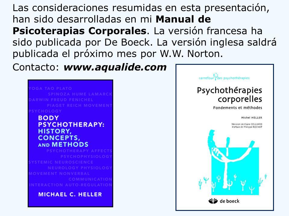 Las consideraciones resumidas en esta presentación, han sido desarrolladas en mi Manual de Psicoterapias Corporales. La versión francesa ha sido publi