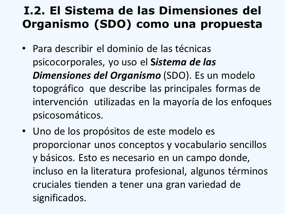 I.2. El Sistema de las Dimensiones del Organismo (SDO) como una propuesta Para describir el dominio de las técnicas psicocorporales, yo uso el Sistema
