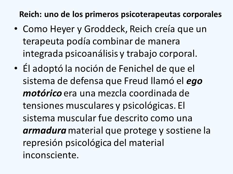 Reich: uno de los primeros psicoterapeutas corporales Como Heyer y Groddeck, Reich creía que un terapeuta podía combinar de manera integrada psicoanál