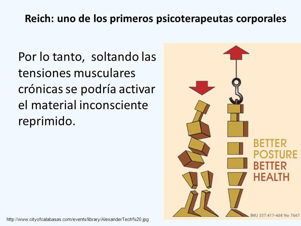 Reich: uno de los primeros psicoterapeutas corporales Por lo tanto, soltando las tensiones musculares crónicas se podría activar el material inconscie