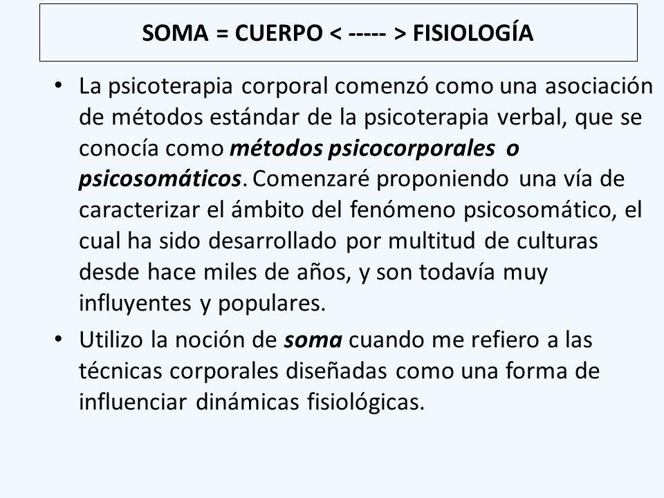SOMA = CUERPO FISIOLOGÍA La psicoterapia corporal comenzó como una asociación de métodos estándar de la psicoterapia verbal, que se conocía como métod