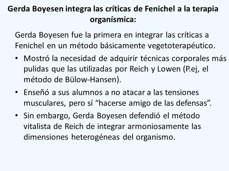 Gerda Boyesen integra las críticas de Fenichel a la terapia organísmica: Gerda Boyesen fue la primera en integrar las críticas a Fenichel en un método