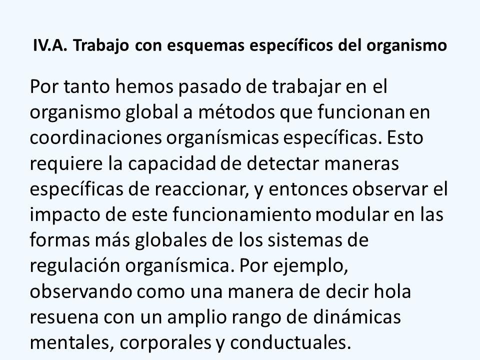 IV.A. Trabajo con esquemas específicos del organismo Por tanto hemos pasado de trabajar en el organismo global a métodos que funcionan en coordinacion