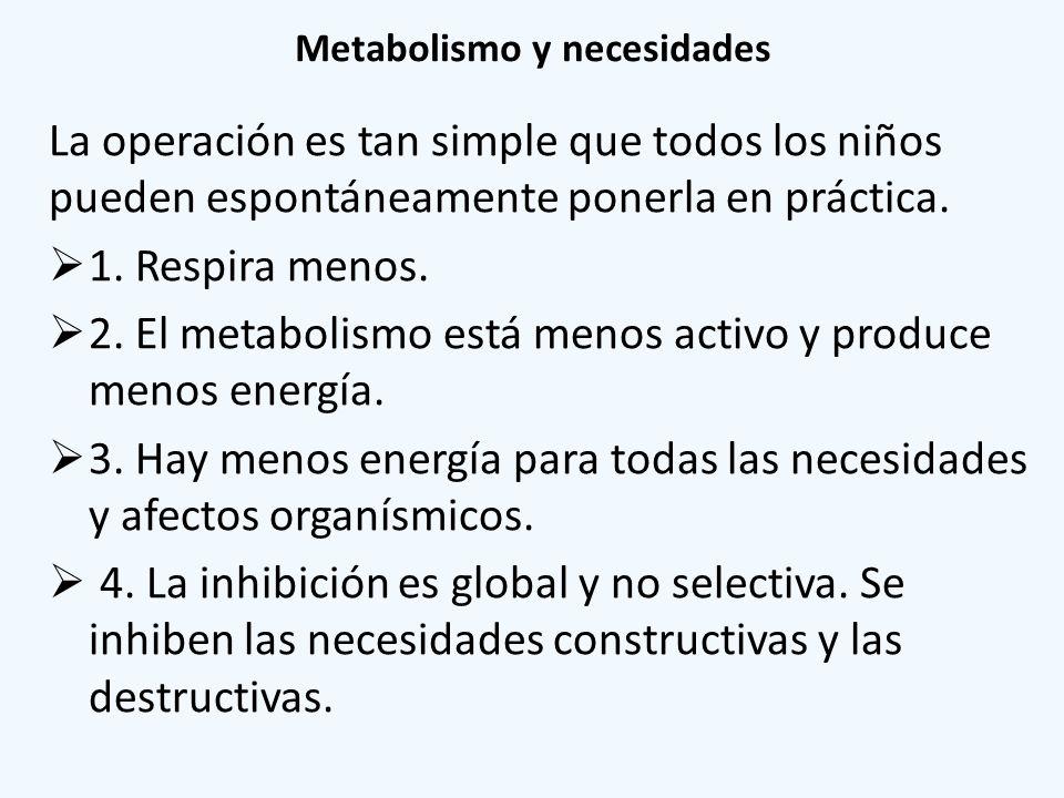 Metabolismo y necesidades La operación es tan simple que todos los niños pueden espontáneamente ponerla en práctica. 1. Respira menos. 2. El metabolis