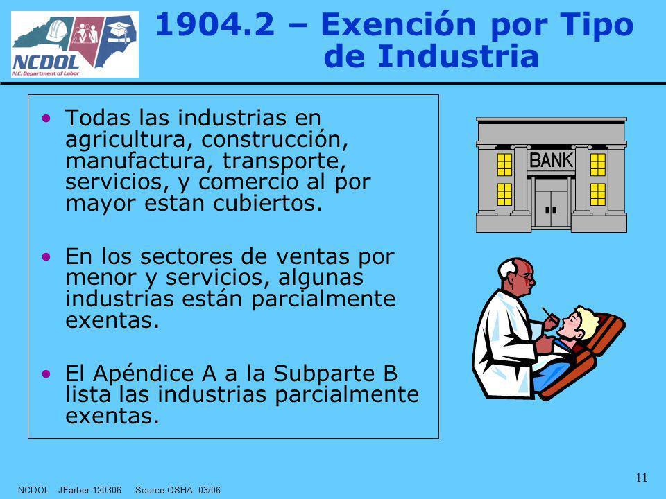 NCDOL JFarber 120306 Source:OSHA 03/06 11 1904.2 – Exención por Tipo de Industria Todas las industrias en agricultura, construcción, manufactura, tran
