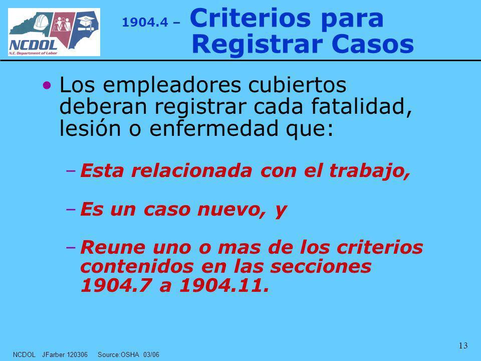 NCDOL JFarber 120306 Source:OSHA 03/06 13 1904.4 – Criterios para Registrar Casos Los empleadores cubiertos deberan registrar cada fatalidad, lesión o