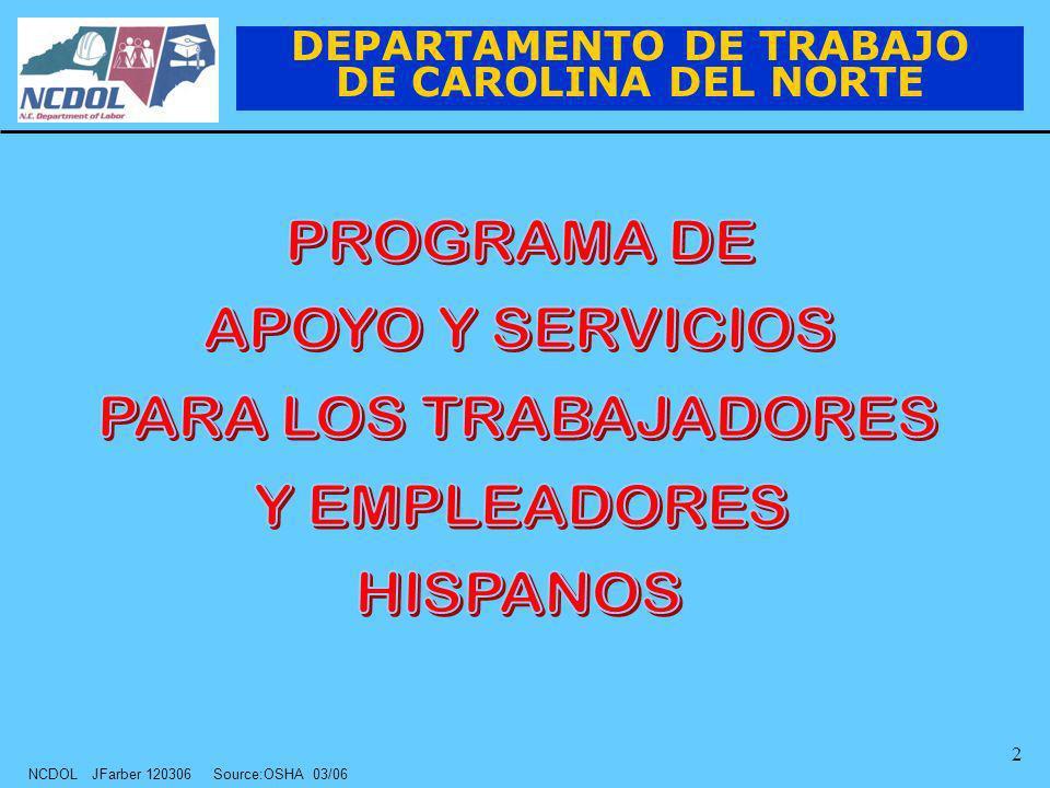 NCDOL JFarber 120306 Source:OSHA 03/06 2 DEPARTAMENTO DE TRABAJO DE CAROLINA DEL NORTE