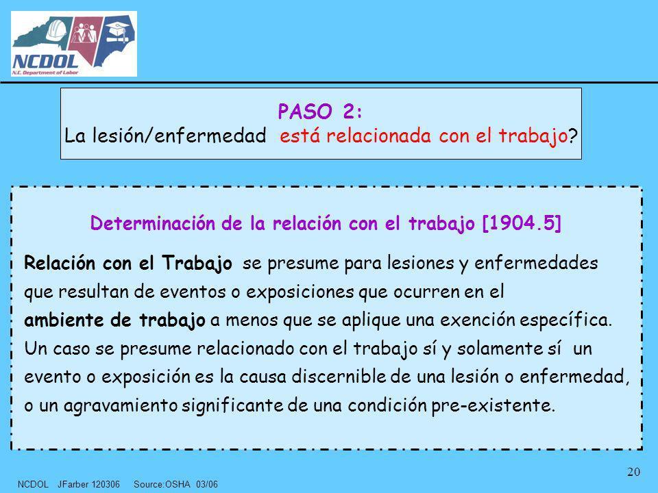 NCDOL JFarber 120306 Source:OSHA 03/06 20 Determinación de la relación con el trabajo [1904.5] Relación con el Trabajo se presume para lesiones y enfe