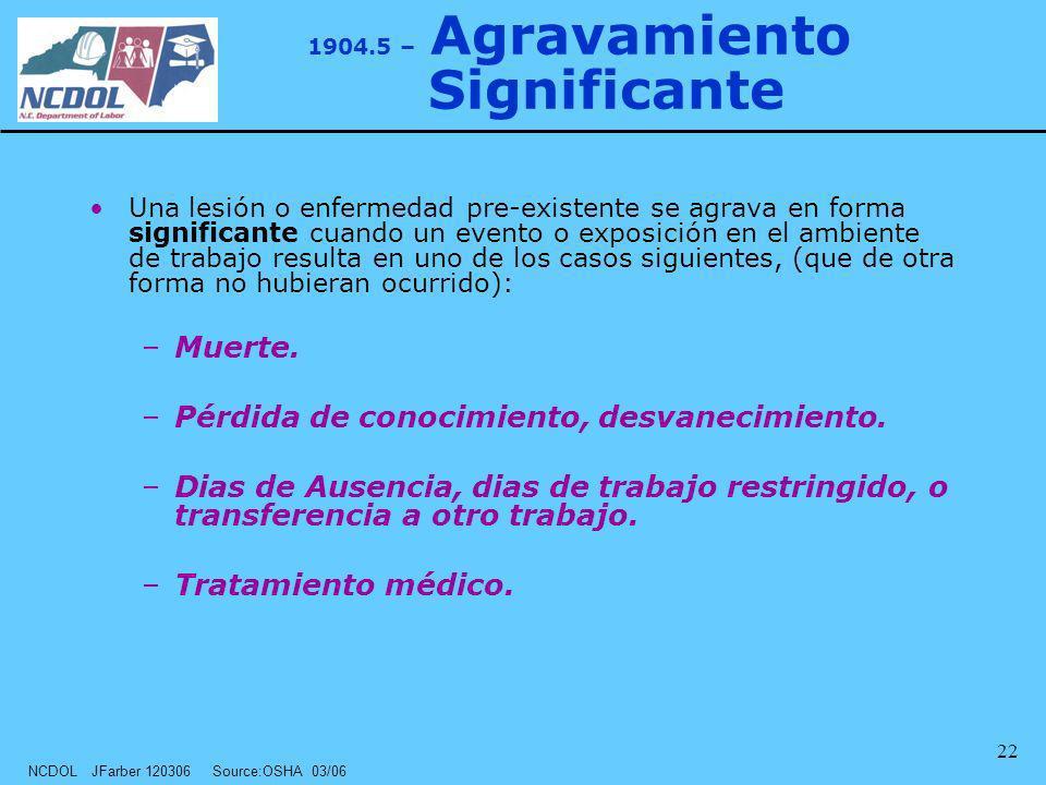 NCDOL JFarber 120306 Source:OSHA 03/06 22 1904.5 – Agravamiento Significante Una lesión o enfermedad pre-existente se agrava en forma significante cua