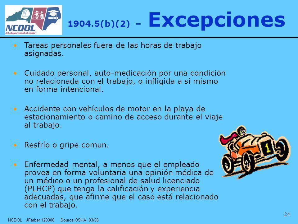 NCDOL JFarber 120306 Source:OSHA 03/06 24 1904.5(b)(2) – Excepciones Tareas personales fuera de las horas de trabajo asignadas. Cuidado personal, auto