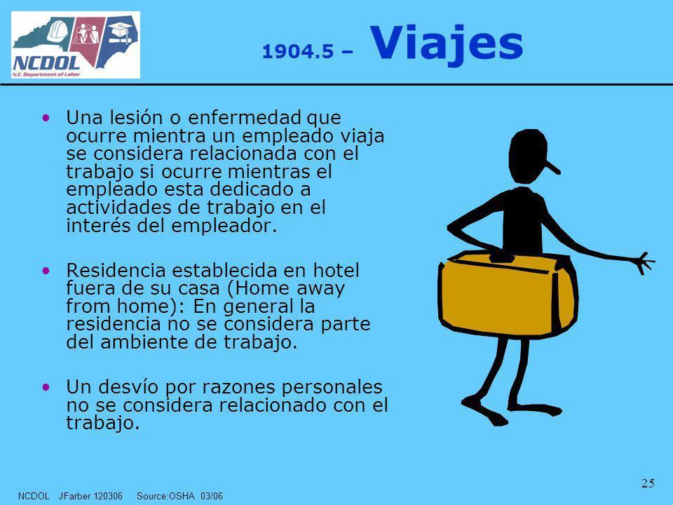 NCDOL JFarber 120306 Source:OSHA 03/06 25 1904.5 – Viajes Una lesión o enfermedad que ocurre mientra un empleado viaja se considera relacionada con el