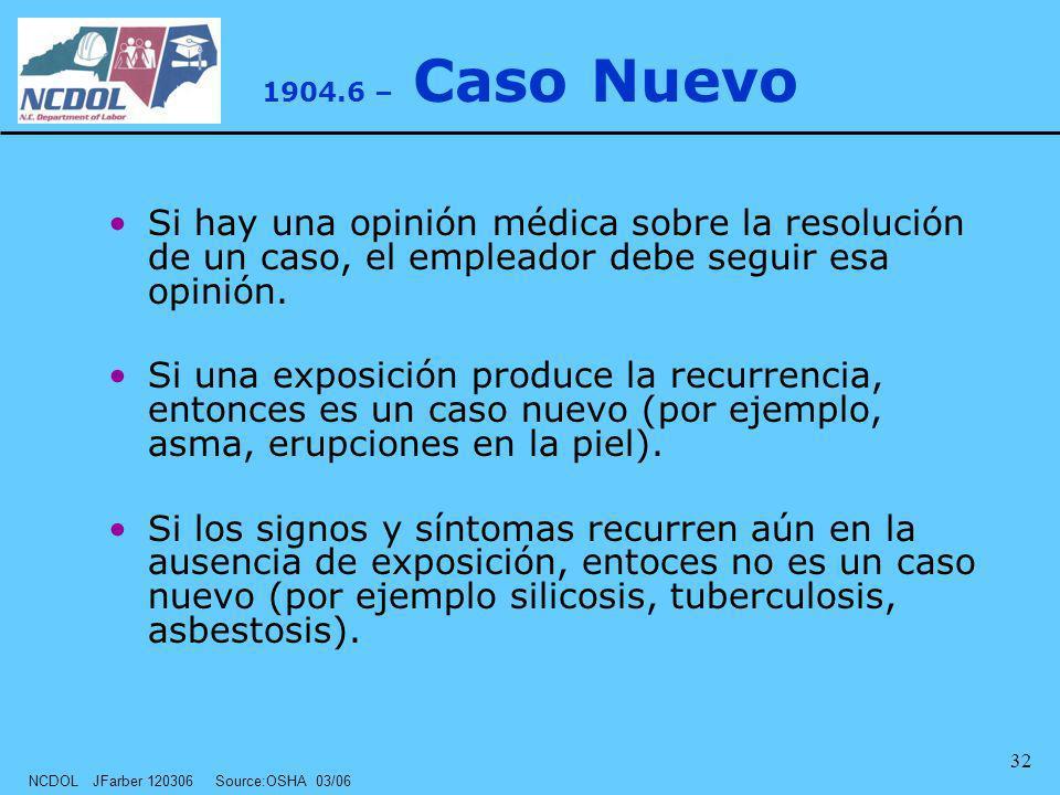 NCDOL JFarber 120306 Source:OSHA 03/06 32 1904.6 – Caso Nuevo Si hay una opinión médica sobre la resolución de un caso, el empleador debe seguir esa o