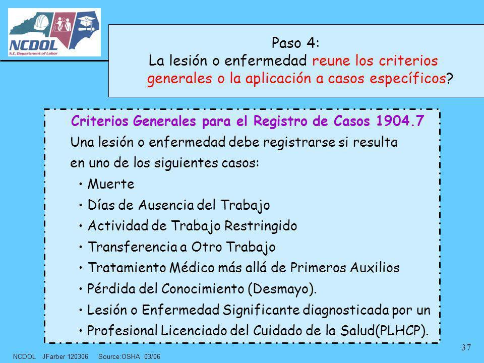 NCDOL JFarber 120306 Source:OSHA 03/06 37 Criterios Generales para el Registro de Casos 1904.7 Una lesión o enfermedad debe registrarse si resulta en