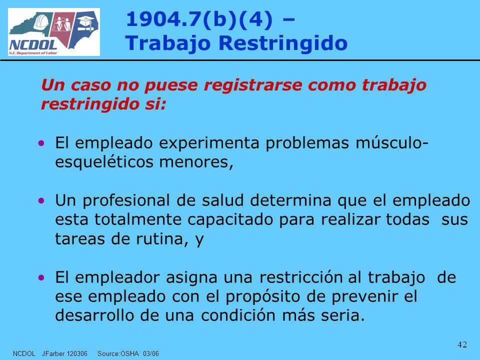 NCDOL JFarber 120306 Source:OSHA 03/06 42 El empleado experimenta problemas músculo- esqueléticos menores, Un profesional de salud determina que el em