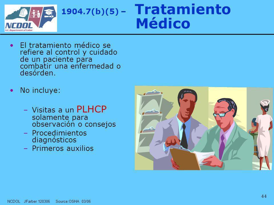 NCDOL JFarber 120306 Source:OSHA 03/06 44 1904.7(b)(5) – Tratamiento Médico El tratamiento médico se refiere al control y cuidado de un paciente para