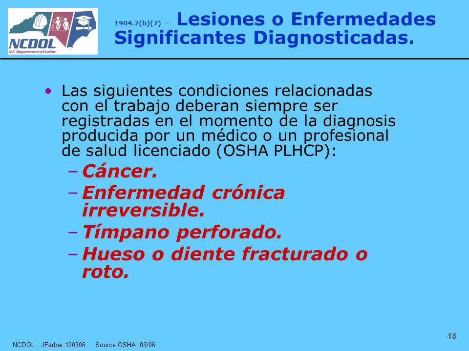 NCDOL JFarber 120306 Source:OSHA 03/06 48 Las siguientes condiciones relacionadas con el trabajo deberan siempre ser registradas en el momento de la d