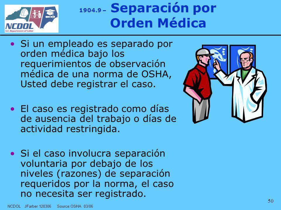 NCDOL JFarber 120306 Source:OSHA 03/06 50 1904.9 – Separación por Orden Médica Si un empleado es separado por orden médica bajo los requerimientos de