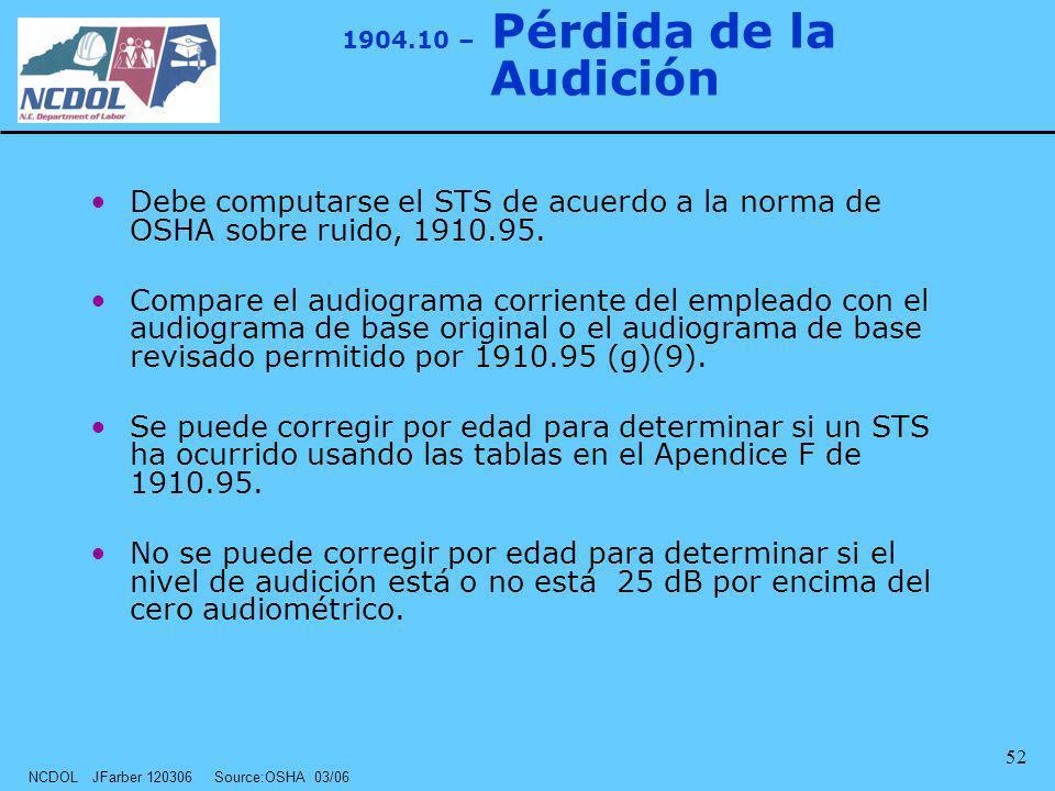 NCDOL JFarber 120306 Source:OSHA 03/06 52 Debe computarse el STS de acuerdo a la norma de OSHA sobre ruido, 1910.95. Compare el audiograma corriente d