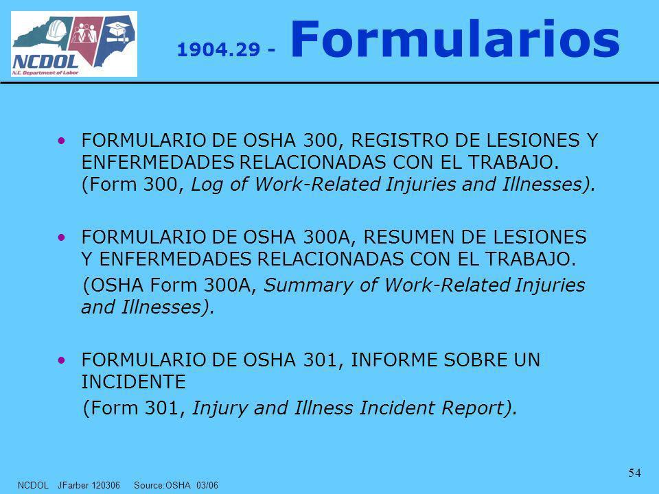 NCDOL JFarber 120306 Source:OSHA 03/06 54 1904.29 - Formularios FORMULARIO DE OSHA 300, REGISTRO DE LESIONES Y ENFERMEDADES RELACIONADAS CON EL TRABAJ