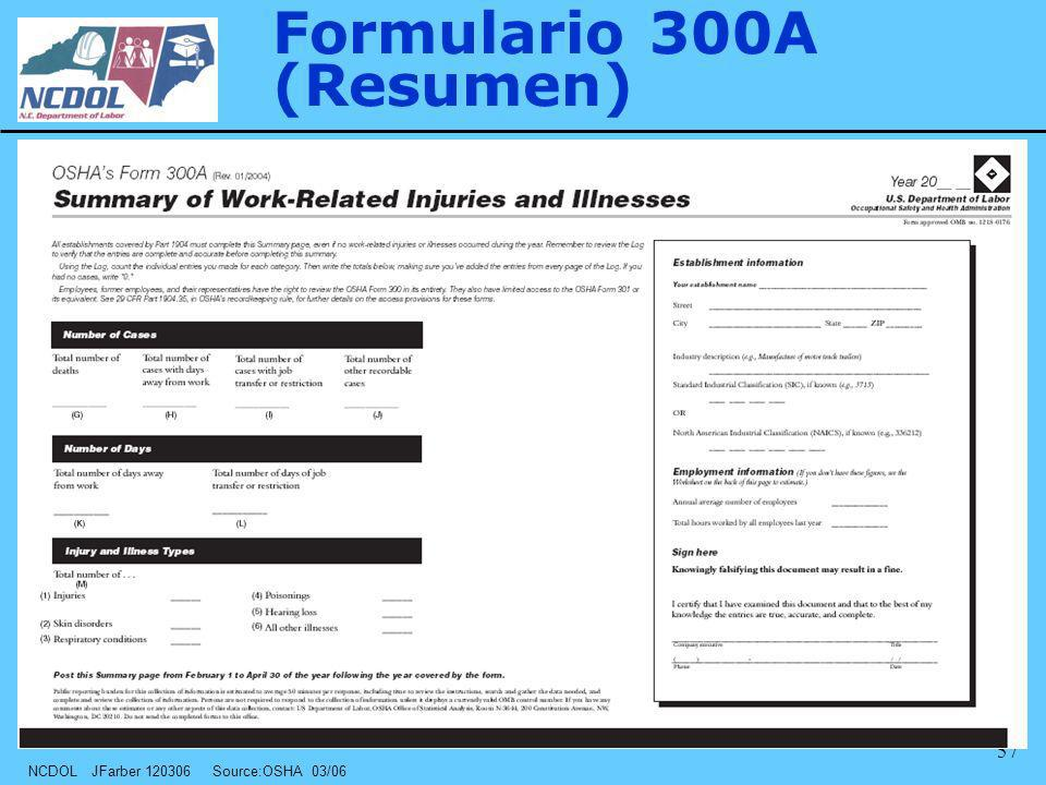 NCDOL JFarber 120306 Source:OSHA 03/06 57 Formulario 300A (Resumen)