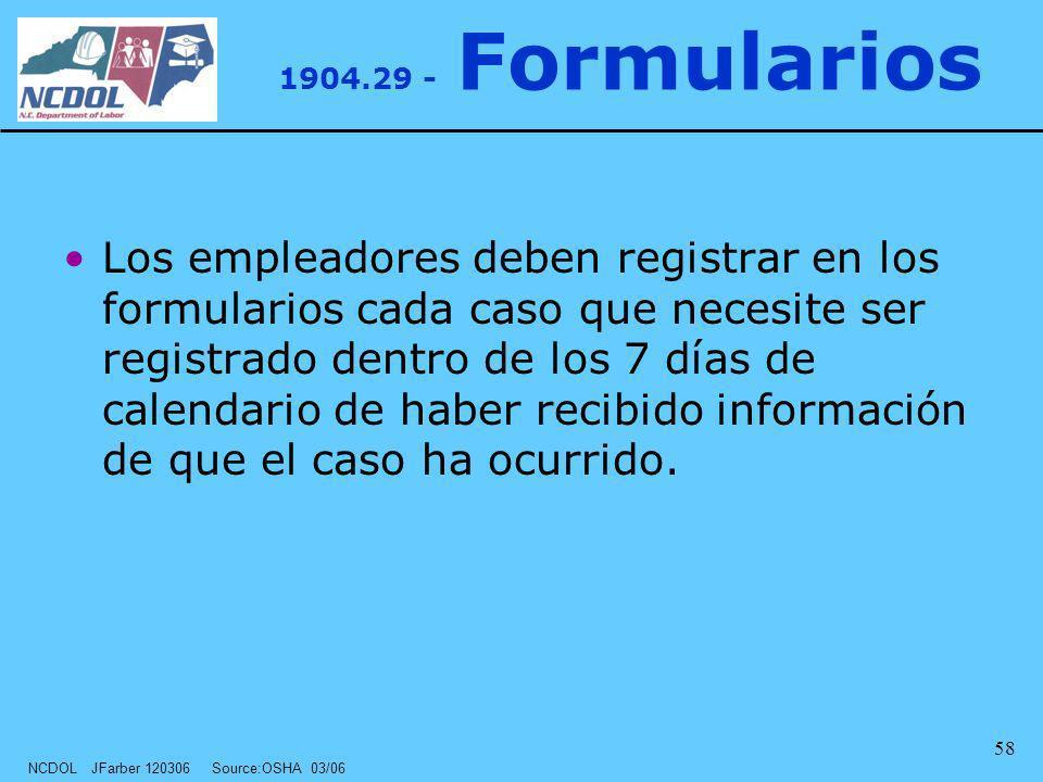 NCDOL JFarber 120306 Source:OSHA 03/06 58 Los empleadores deben registrar en los formularios cada caso que necesite ser registrado dentro de los 7 día