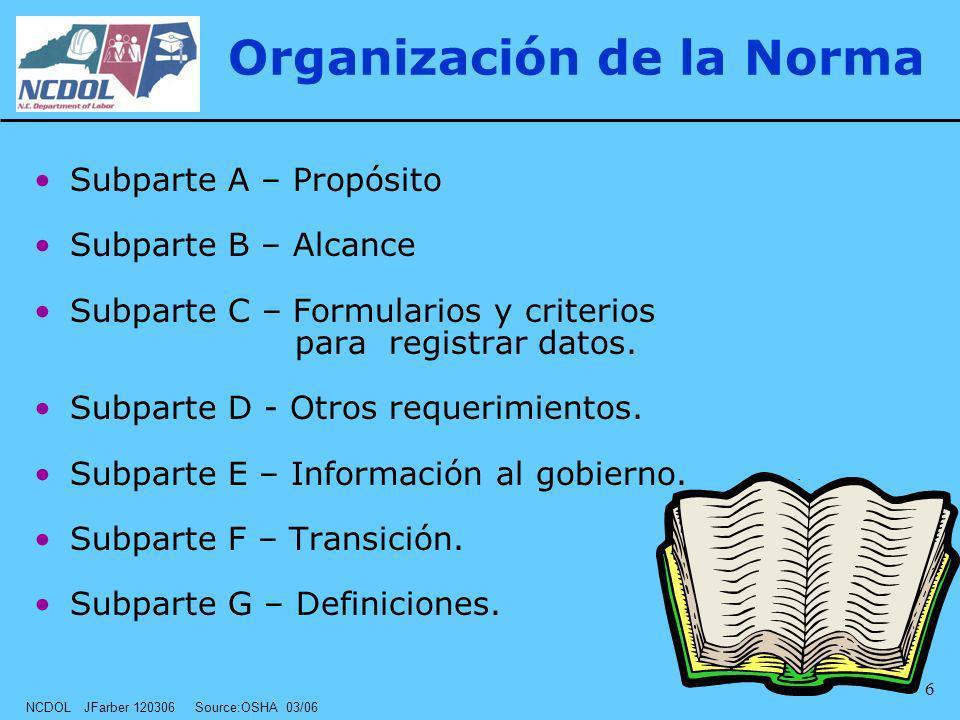 NCDOL JFarber 120306 Source:OSHA 03/06 6 Organización de la Norma Subparte A – Propósito Subparte B – Alcance Subparte C – Formularios y criterios par