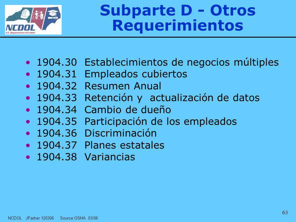 NCDOL JFarber 120306 Source:OSHA 03/06 63 Subparte D - Otros Requerimientos 1904.30 Establecimientos de negocios múltiples 1904.31 Empleados cubiertos