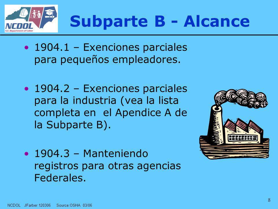 NCDOL JFarber 120306 Source:OSHA 03/06 8 Subparte B - Alcance 1904.1 – Exenciones parciales para pequeños empleadores. 1904.2 – Exenciones parciales p