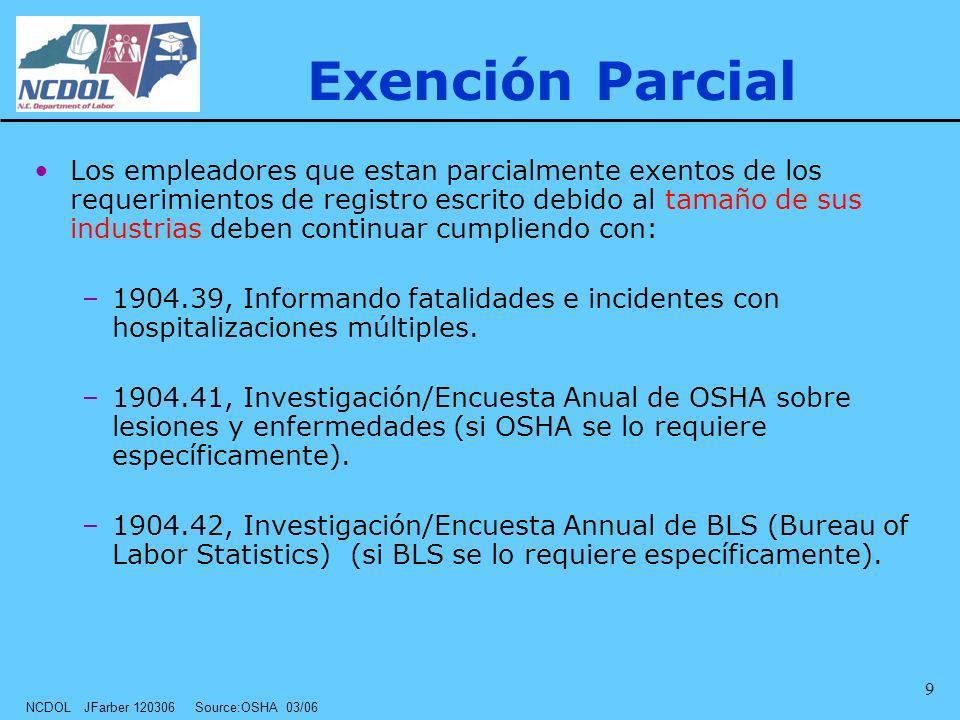 NCDOL JFarber 120306 Source:OSHA 03/06 9 Exención Parcial Los empleadores que estan parcialmente exentos de los requerimientos de registro escrito deb