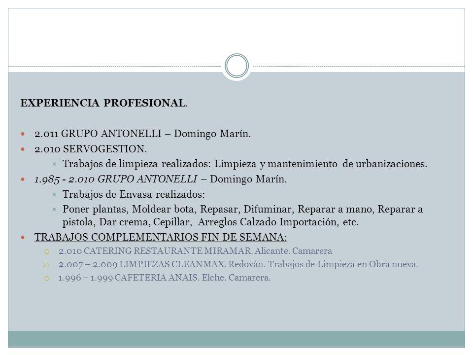 EXPERIENCIA PROFESIONAL. 2.011 GRUPO ANTONELLI – Domingo Marín. 2.010 SERVOGESTION. Trabajos de limpieza realizados: Limpieza y mantenimiento de urban